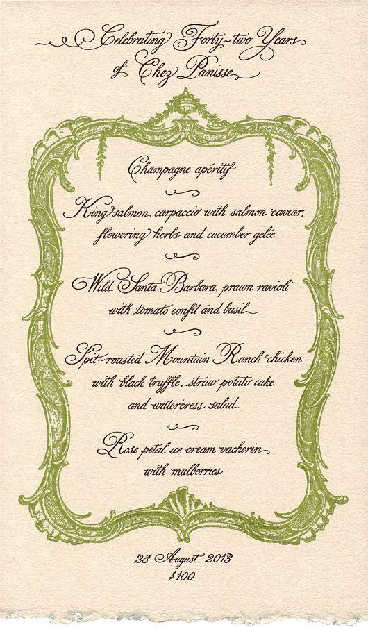 chez panisse menue by Cynthia Warren, beautiful hand lettering