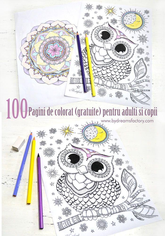 Bucurati-va de o selectie de 100 pagini de colorat (gratuite) pentru adulti si copii, pe care le puteti descarca si transforma in mici opera de arta - Dreams Factory