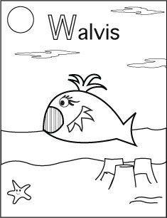 alfabet kleurplaat w walvis kleurplaten colorings