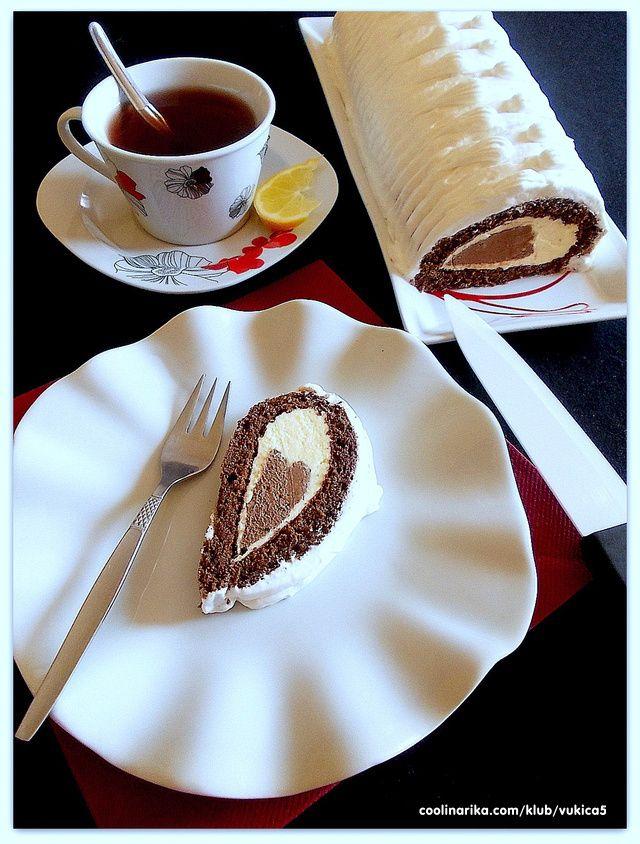 """fin, jednostavan, dekorativan .....:))) ideja za """"suzu"""" je moja, a biskvit i krema po mom najdražem receptu za fin i brz rolat :))) idealno za hitne slučajeve :)))))"""
