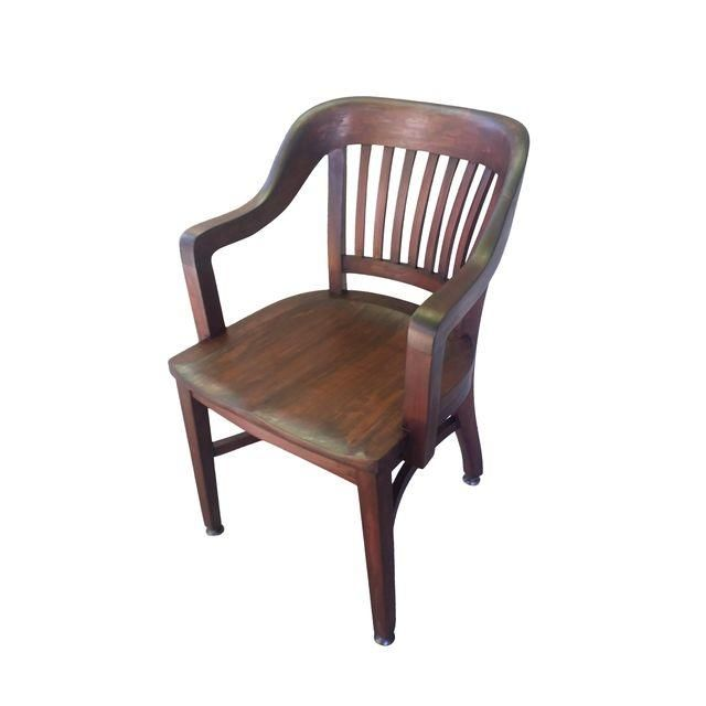 Image Of Vintage Wooden Bankers Chair