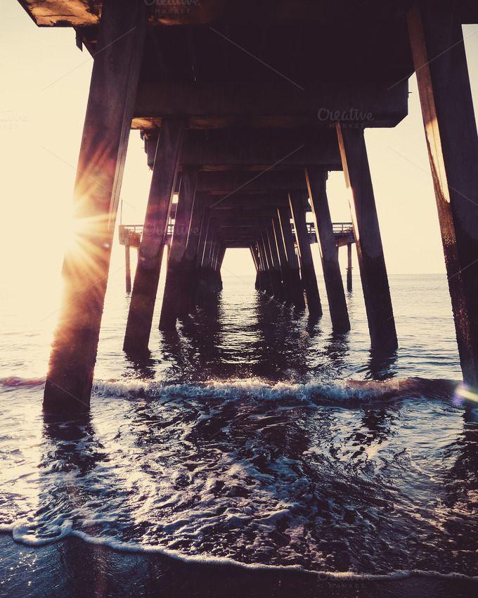 Folly Beach Pier Sunrise by Merrymint Designs on @creativemarket