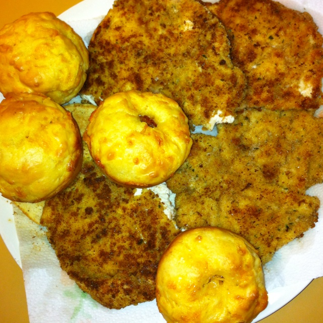 Homemade chicken schnitzel and South African recipe cheese scones. Yum!