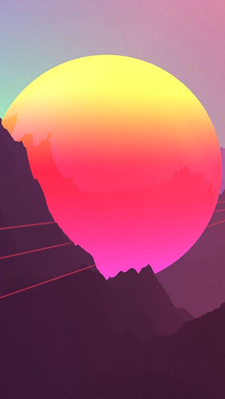 Misc Neon Sunset Mountains 4k Wallpapers Hd 4k Hintergrund Fur