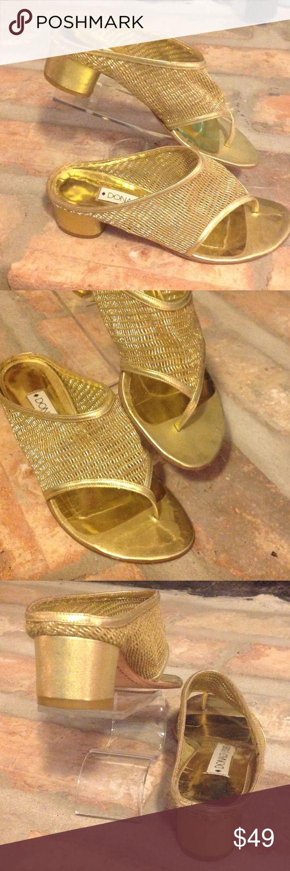 "Donald J Pliner Gold Sandal Heel Very nice gold metallic slide in dressy sandal 1.5"" heel. Excellent condition. Just normal wear to bottom sole. Nice round gold metallic heels. Donald J. Pliner Shoes Sandals"
