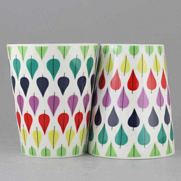 Stig Lindberg (Falling Leaf) Two Colorful Cups