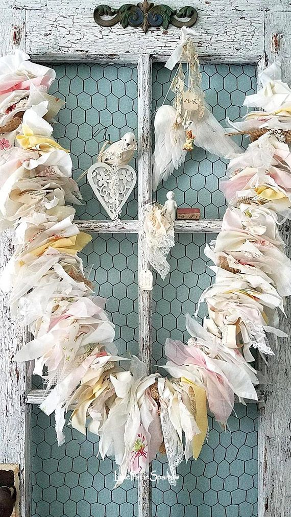 Sunset This sweet little made to order shabby chic garland makes me think of all the colors in the sky at sunset. Each little puff of fabric is made from my abandoned pieces of burlap, vintage book pages, vintage snippets of lace and tulle, vintage and abandoned fabric in soft