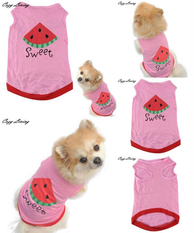 [Visit to Buy] Pet Clothes Summer Cute Small Pet Dog Puppy Cat Clothes Watermelon Printed Pink Vest XS-L Cartoon Pet T Shirt Wholesale D26 #Advertisement