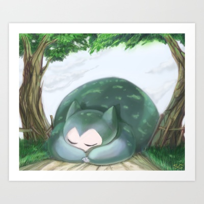 My daughter loves kitties. Route 12 Art Print by Zoe Coughlin - $15.00