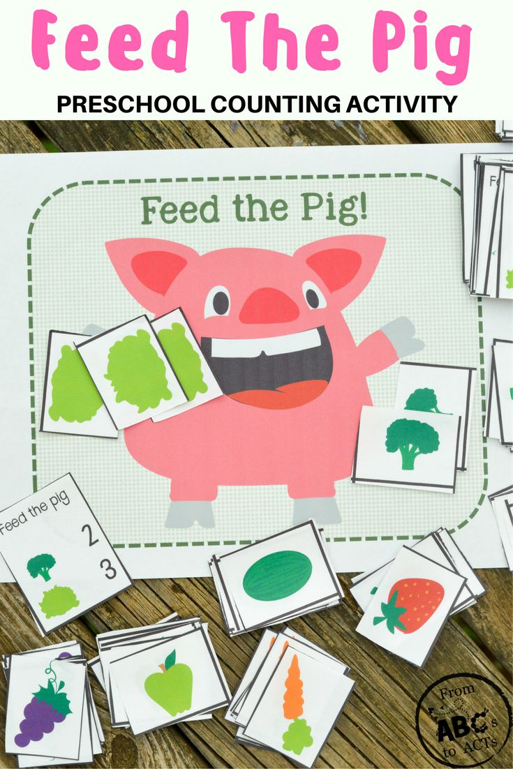 Feed The Pig! Preschool Counting Activity Game