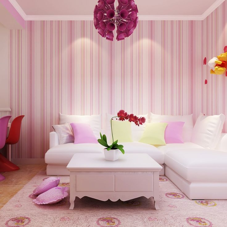 pink striped wallpaper for your living rooms to make your homes look more fabulous and stunning - Wallpaper House Decor