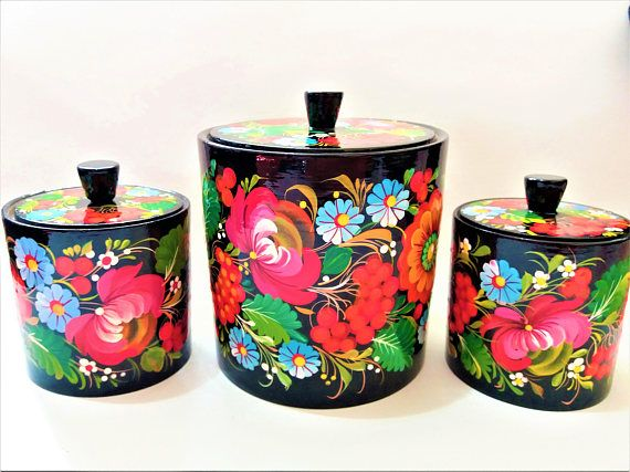 Wooden kitchen canisters set of 3  Folk art  Floral colorful