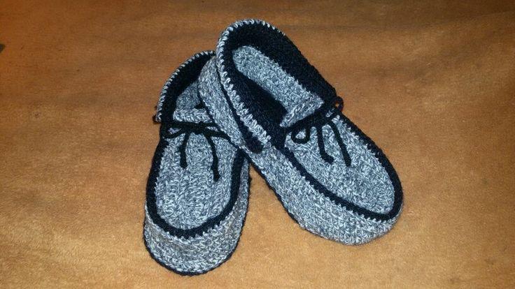 pantuflas a crochet tipo mocasin