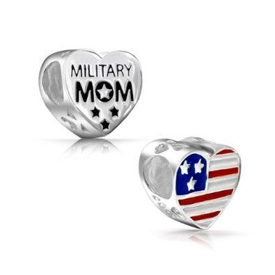 Bling Jewelry 925 Sterling Star American Flag Military Mom Heart Bead Fits Pandora