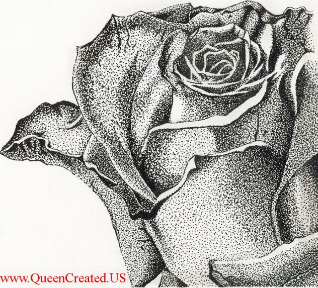 Stipple rose stipple art pen and ink drawing queen created custom portrait recreations