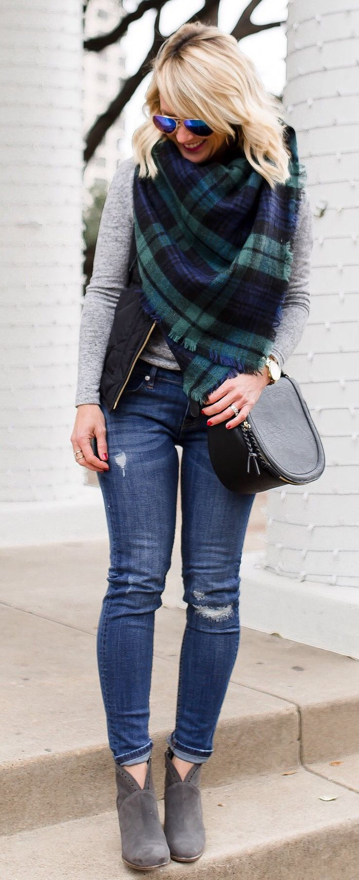 Printed Scarf / Grey Knit / Black Vest / Ripped Skinny Jeans / Grey Suede Booties