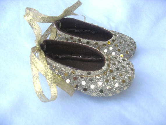 Sweet Isabella Glittering Gold Sparkle Baby Shoes  by cuddlehugs, $19.99