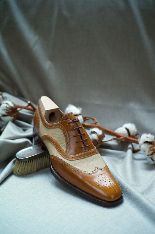 Canvas and calf leather. You can never have to many shoes. Especially wingtips.