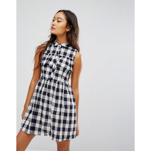 QED London Gingham Shirt Mini Dress (91 BRL) ❤ liked on Polyvore featuring dresses, navy, navy short dress, navy midi dress, mini dress, navy blue short dress and navy blue dresses