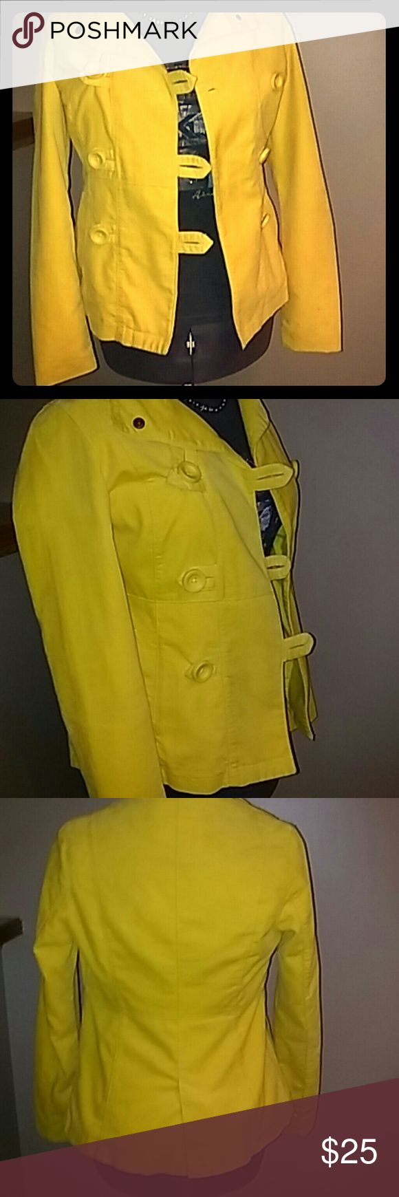 Fall Peacoat Yellow peacoat.  In like new shape. Worn once. No rips, tears or stains. All buttons accounted for and atill attached.  Previously owned.  100% cotton Mossimo Supply Co Jackets & Coats Pea Coats