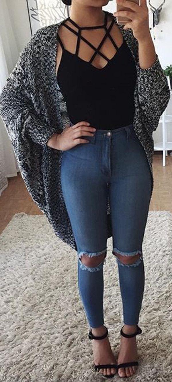 criss-cross top   jeans