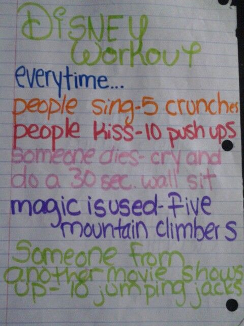 Disney movie workout. Haha I might have to give this a try.