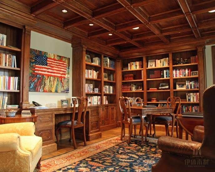coffered ceiling in library