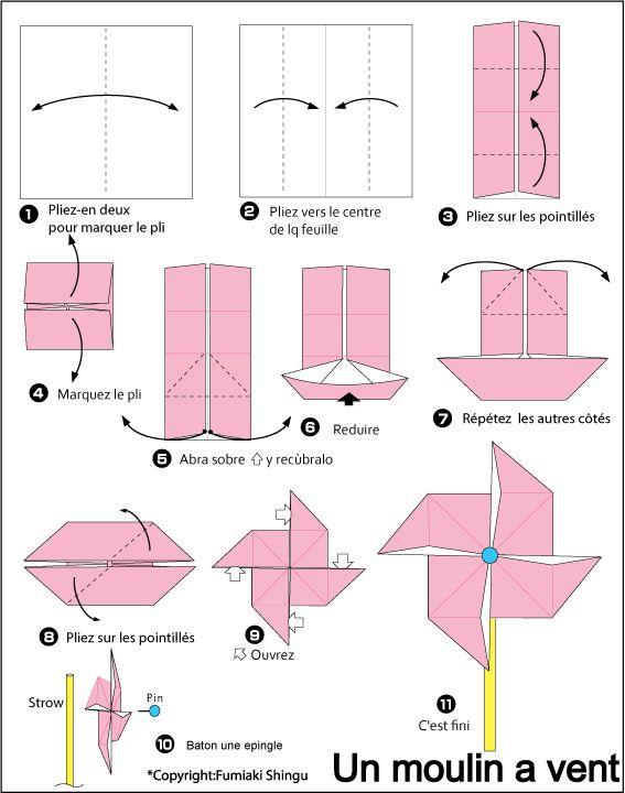 Origami - Moulin à vent - Difficile
