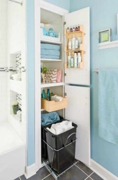 Utilizing small space. Double trash as a hamper!