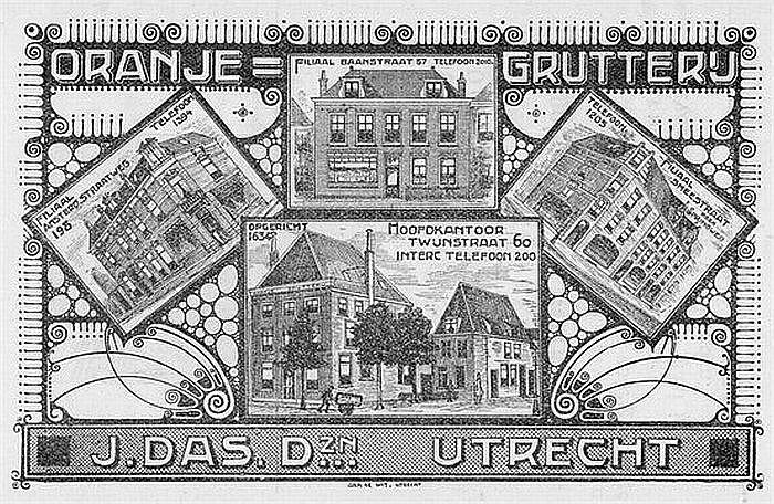 1910: De kruidenierswinkels van Oranje Grutterij J.Das & Zn, nu met vier vestigingen in de stad