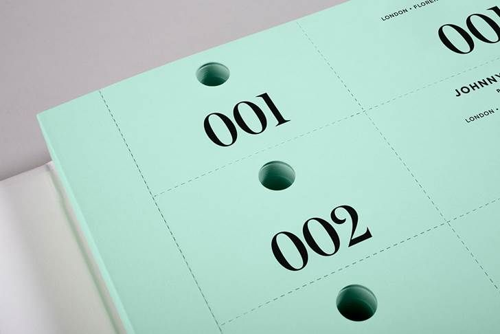 Detail from the inside pages. Johnny Roxburgh - Cloakroom ticket book by Bunch (UK) on Arjowiggins - Pop'Set Spring Green.