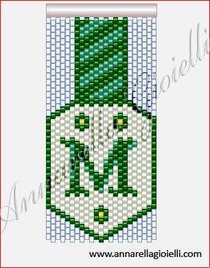 Peyote M pattern - would be cool to make into a dangle earring