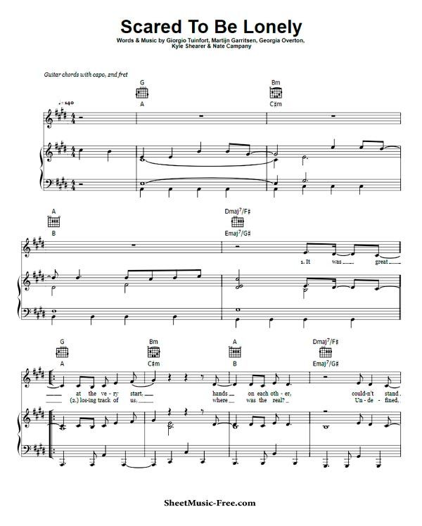 Scared To Be Lonely Sheet Music Dua Lipa Ft Martin Garrix With