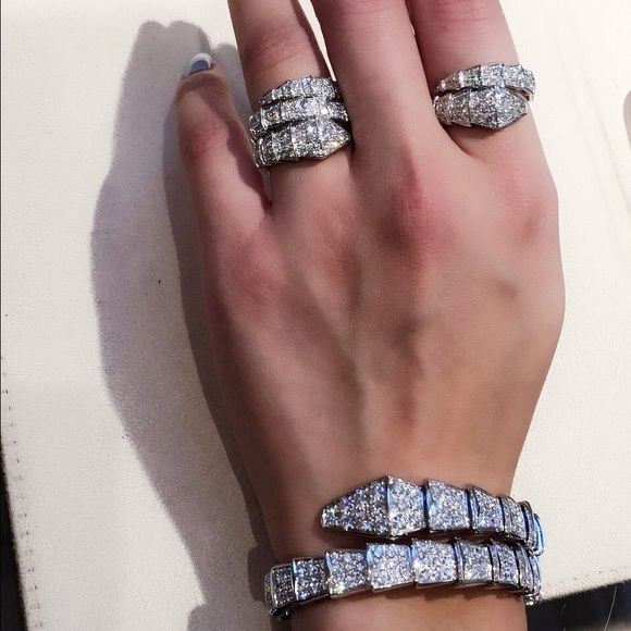 Bulgari Jewelry - Bulgari Serpenti diamond double rows ring and Serpenti bracelet. Woah, must be nice...