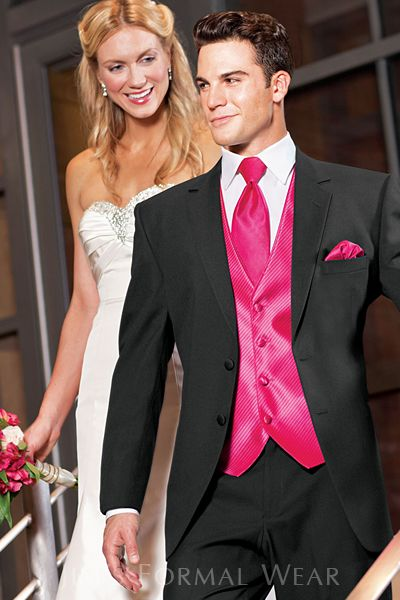 The Stephen Geoffrey Emerson Tuxedo shown with an explosion of pink accessories. The Emerson features a finely tailored, grosgrain lapel making it one notch higher in style when it comes to gentlemen's tuxedos!