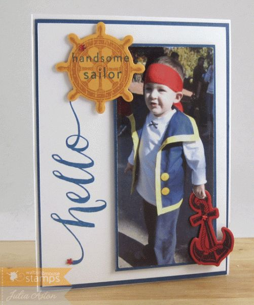 handcrafted card: Hello Handsome Sailor ... real photo with stamps and card making supplies ... great use of both ...
