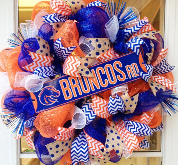 BSU Broncos Wreath  Boise State Broncos Wreath  by StephsDoorDecor