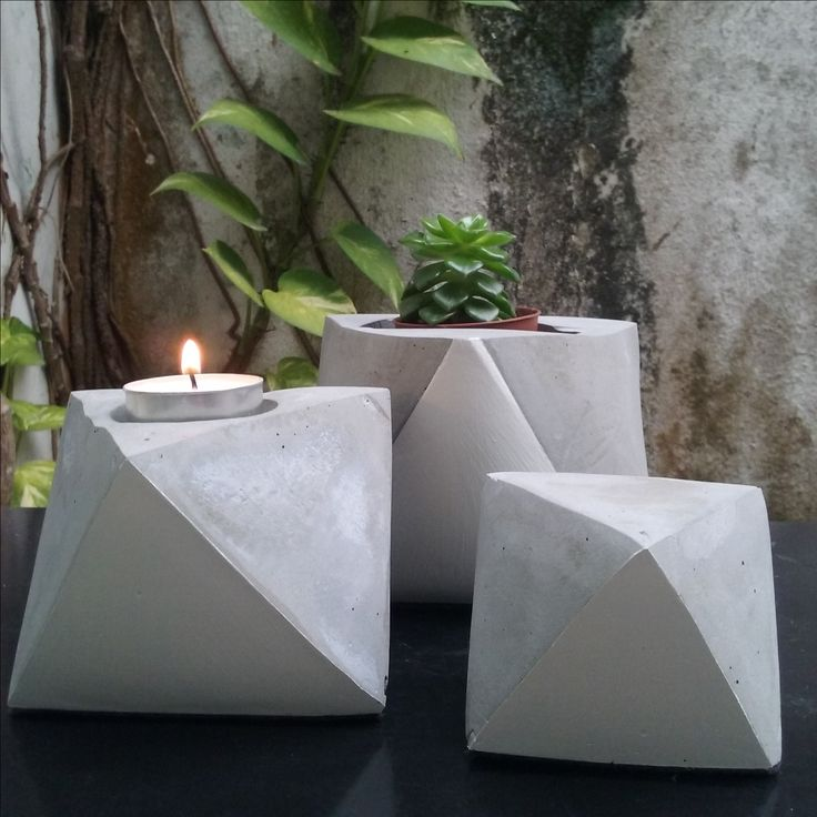 Geometric concrete planter and bookends