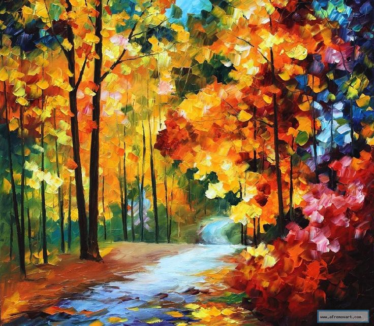 RED FALL   — PALETTE KNIFE Oil Painting On Canvas By Leonid Afremov studio