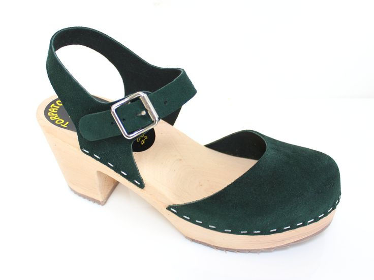 Lotta From Stockholm Torpatoffeln Swedish Clogs : Highwood Mary Jane Style in Forest Green Suede US 7.5 M / EUR 38