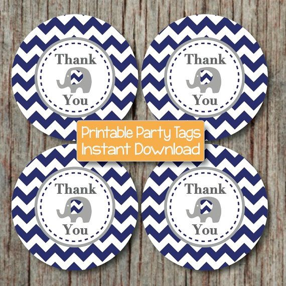 Thank You Tags Elephant Printable Instant by BumpAndBeyondDesigns, $4.00