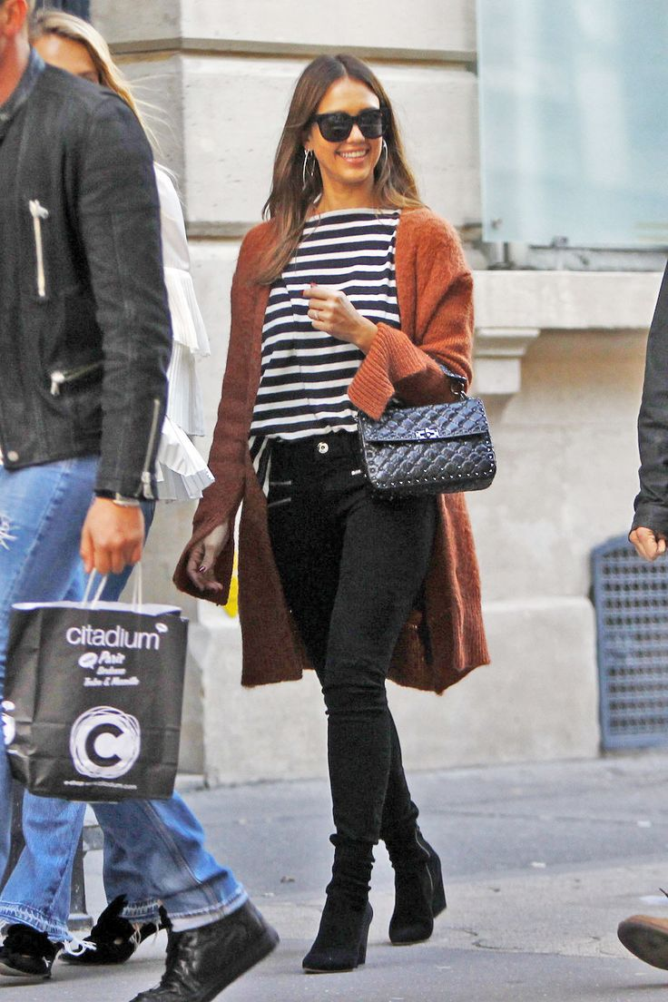 Jessica Alba's stripe top and rust cardigan look for less