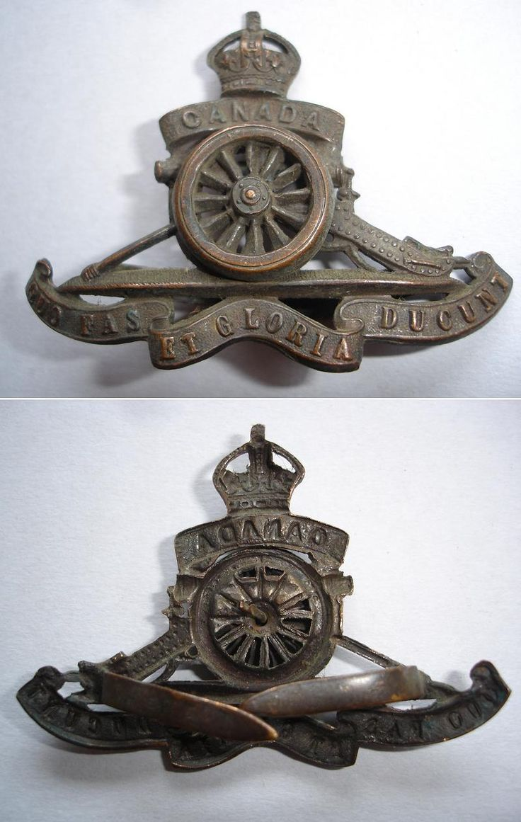 CEF - Cap Badge - Canadian Royal Artillery - General Service Badge. Front and back views. WW1.