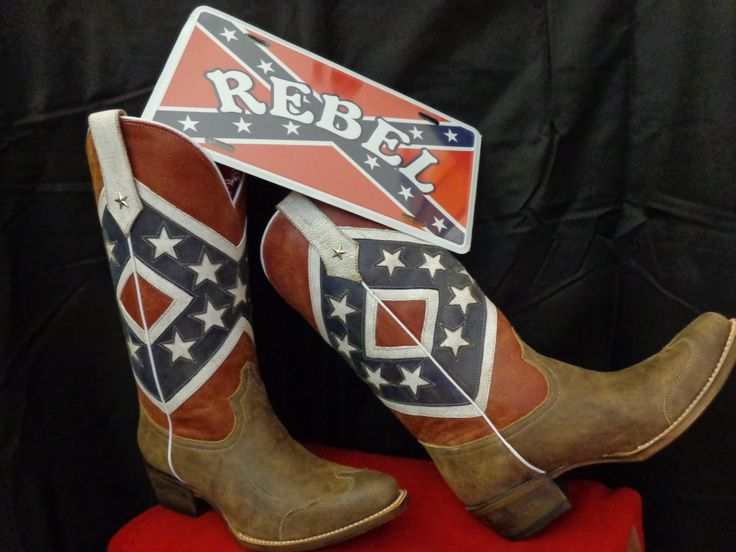 Roper Americana Boot - Rebel Flag with brown toe cap snip toe. Distressed  leather 3c2e93b6efefb