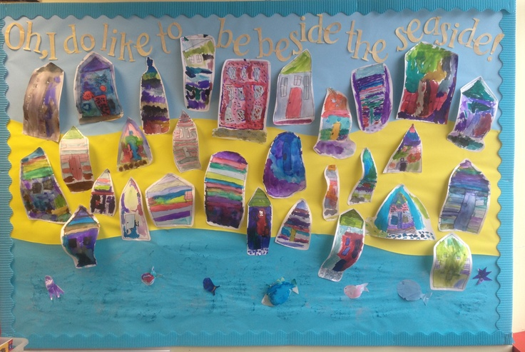 'Oh, I do like to be beside the seaside!' Our EYFS summer topic begins 'the beach'. My Early Years class painted beach huts using watercolours and then drew the detail on top using black pen. Soooo pleased with our bright classroom display... Now we just need the sun to shine for our beach trip!!