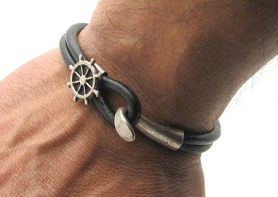 FREE SHIPPING Men's leather bracelet Brown leather by eliziatelye