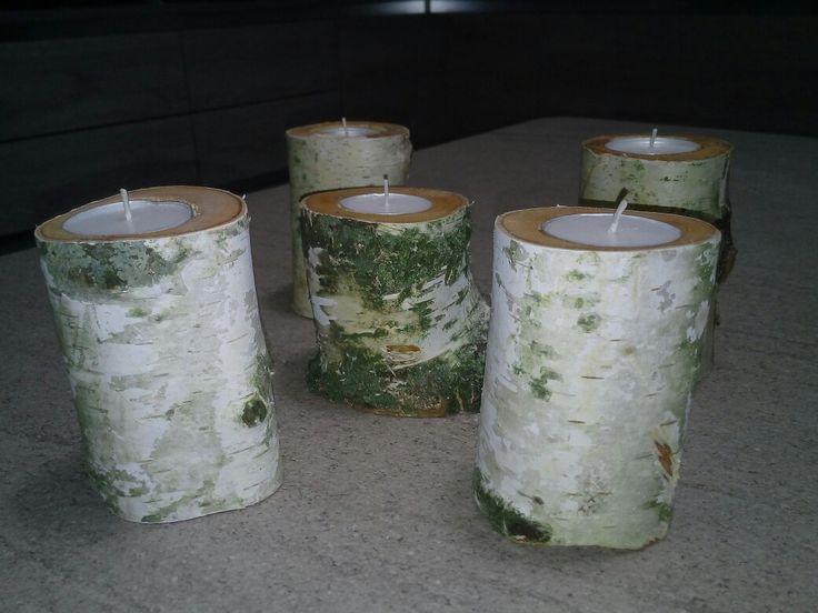 Porta candele con rami di betulla