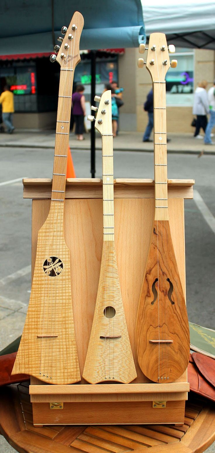 The Woodrow instrument series is a cross between a banjo and an Appalachian dulcimer (or lap dulcimer). Played upright like the banjo, but having the dulcimer construction, gives these instruments the perfect style for Appalachian, bluegrass, celtic, and even blues music. Some styles have a real banjo like twang, while others have a more rounded and mellow sound.