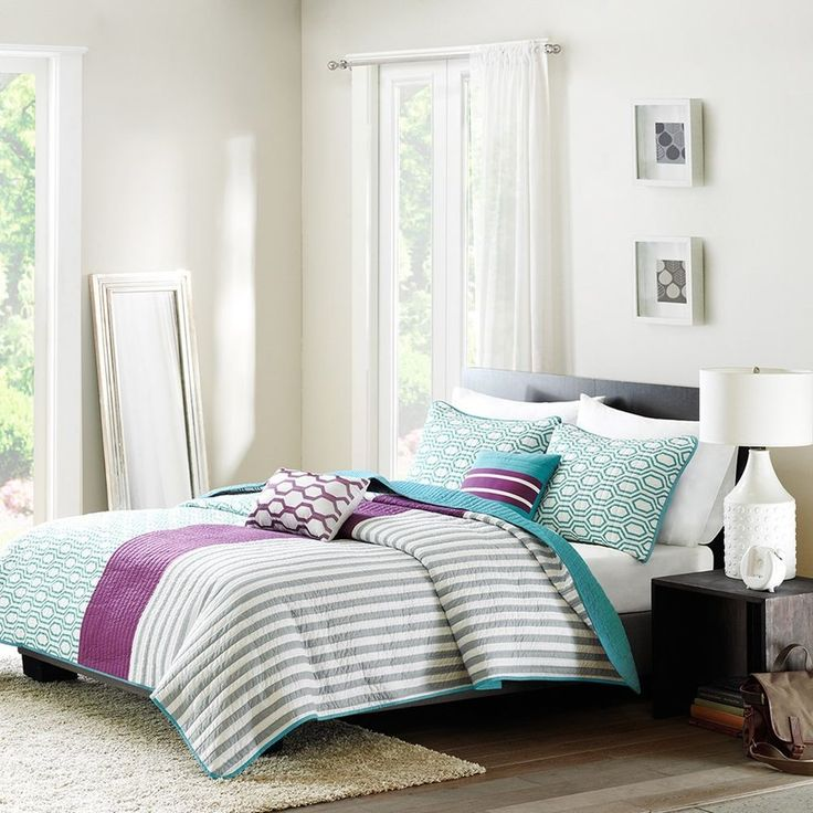 Purple and Teal Reversible Coverlet Quilt Bedding Set AND Decorative Pillows #Contemporary