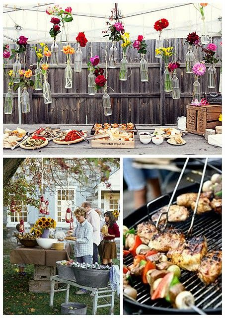 lots of things to like here. First, hanging bottle vases. Second…cookout wedding! Third, food looks de-licoussss.